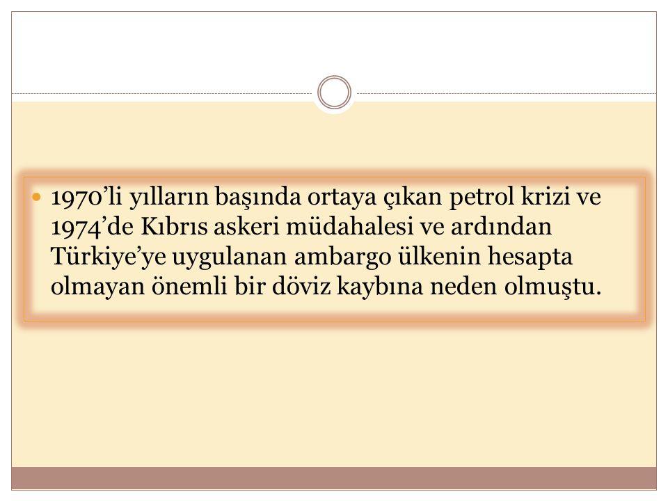  1970'li yılların başında ortaya çıkan petrol krizi ve 1974'de Kıbrıs askeri müdahalesi ve ardından Türkiye'ye uygulanan ambargo ülkenin hesapta olma