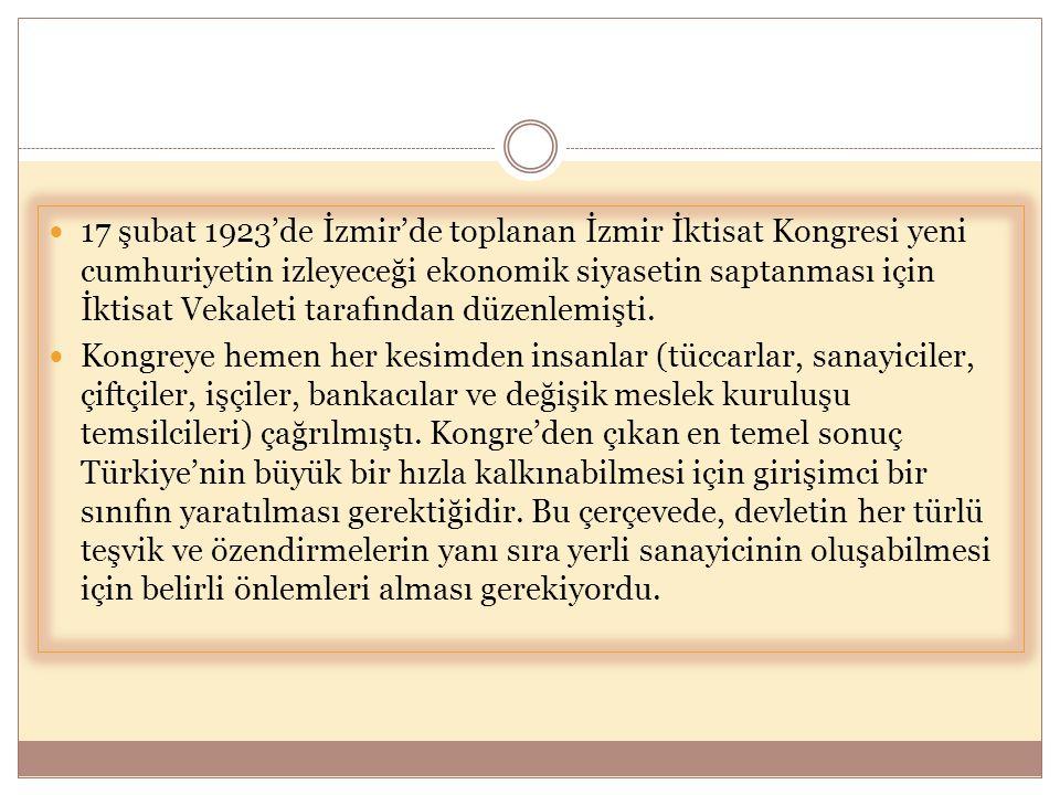  17 şubat 1923'de İzmir'de toplanan İzmir İktisat Kongresi yeni cumhuriyetin izleyeceği ekonomik siyasetin saptanması için İktisat Vekaleti tarafında