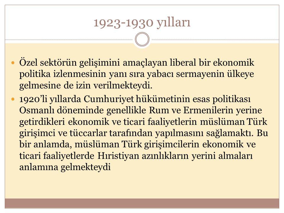 1923-1930 yılları  Özel sektörün gelişimini amaçlayan liberal bir ekonomik politika izlenmesinin yanı sıra yabacı sermayenin ülkeye gelmesine de izin verilmekteydi.