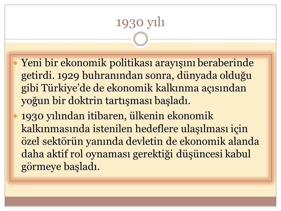 1930 yılı  Yeni bir ekonomik politikası arayışını beraberinde getirdi. 1929 buhranından sonra, dünyada olduğu gibi Türkiye'de de ekonomik kalkınma aç