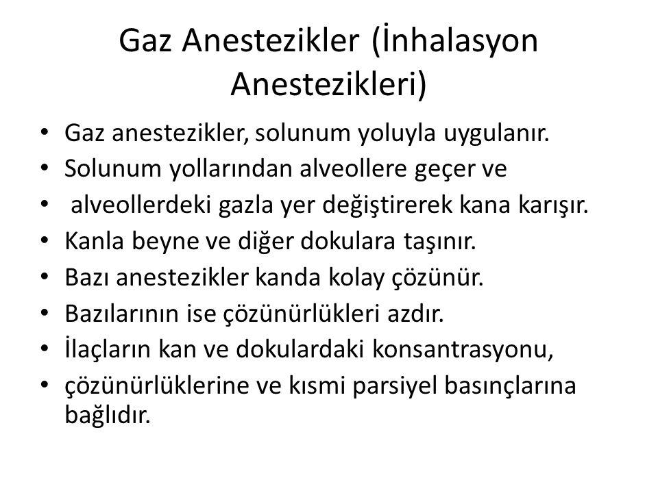 Gaz Anestezikler (İnhalasyon Anestezikleri) • Gaz anestezikler, solunum yoluyla uygulanır.