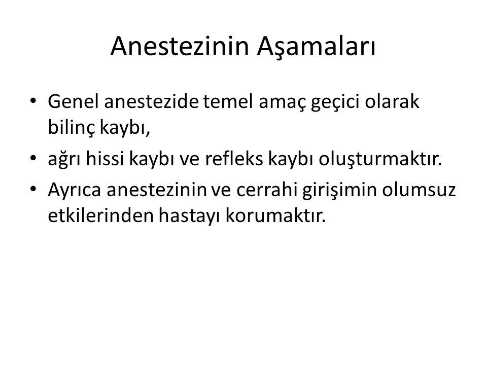 Anestezinin Aşamaları • Genel anestezide temel amaç geçici olarak bilinç kaybı, • ağrı hissi kaybı ve refleks kaybı oluşturmaktır.