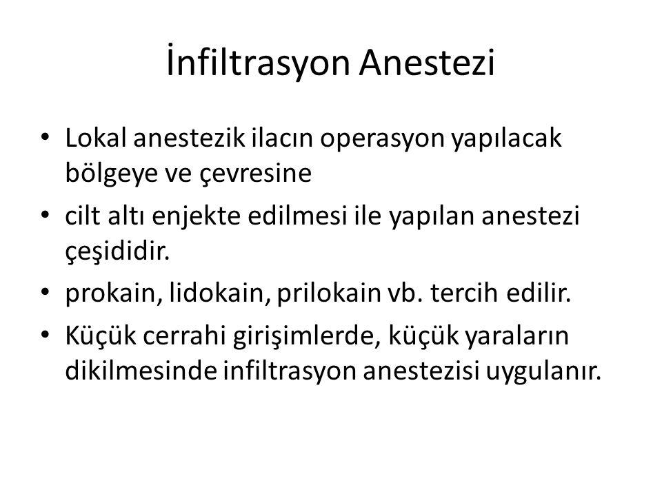 İnfiltrasyon Anestezi • Lokal anestezik ilacın operasyon yapılacak bölgeye ve çevresine • cilt altı enjekte edilmesi ile yapılan anestezi çeşididir.