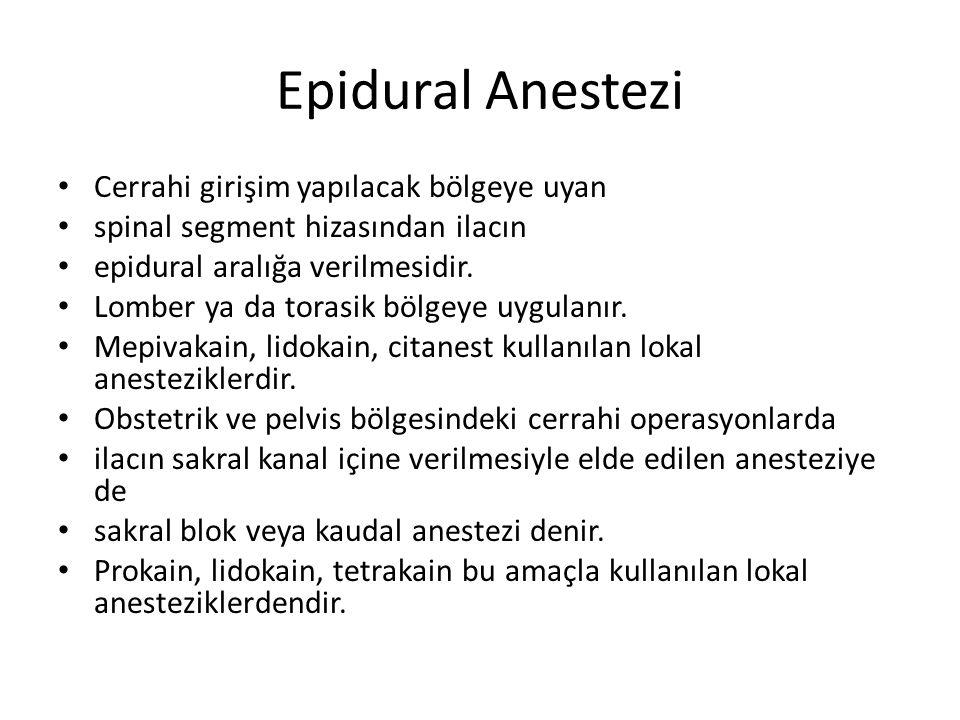 Epidural Anestezi • Cerrahi girişim yapılacak bölgeye uyan • spinal segment hizasından ilacın • epidural aralığa verilmesidir.