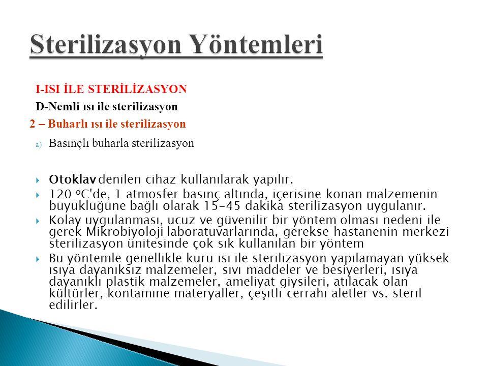 I-ISI İLE STERİLİZASYON D-Nemli ısı ile sterilizasyon 2 – Buharlı ısı ile sterilizasyon a) Basınçlı buharla sterilizasyon  Otoklav denilen cihaz kull