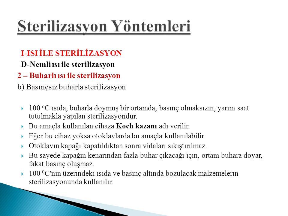 I-ISI İLE STERİLİZASYON D-Nemli ısı ile sterilizasyon 2 – Buharlı ısı ile sterilizasyon b) Basınçsız buharla sterilizasyon  100 o C ısıda, buharla do