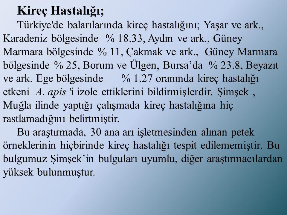 Kireç Hastalığı; Türkiye'de balarılarında kireç hastalığını; Yaşar ve ark., Karadeniz bölgesinde % 18.33, Aydın ve ark., Güney Marmara bölgesinde % 11