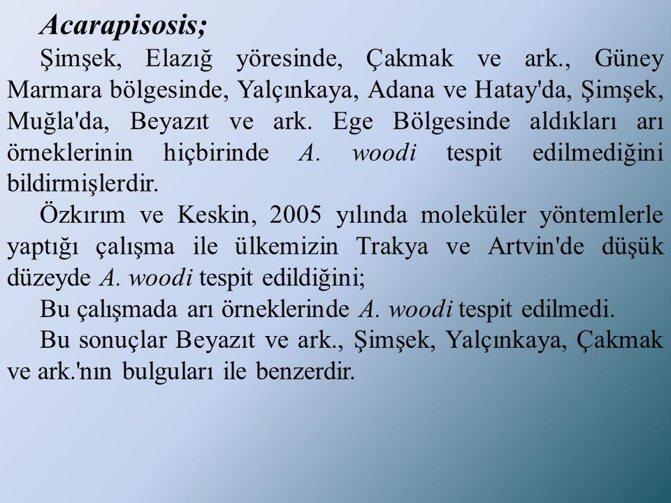 Acarapisosis; Şimşek, Elazığ yöresinde, Çakmak ve ark., Güney Marmara bölgesinde, Yalçınkaya, Adana ve Hatay'da, Şimşek, Muğla'da, Beyazıt ve ark. Ege