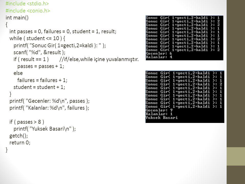 #include int main() {//for ile toplama int sum = 0, number; for ( number = 2; number <= 100; number += 2 ) sum += number; printf( Toplam: %d\n , sum ); getch(); return 0; }