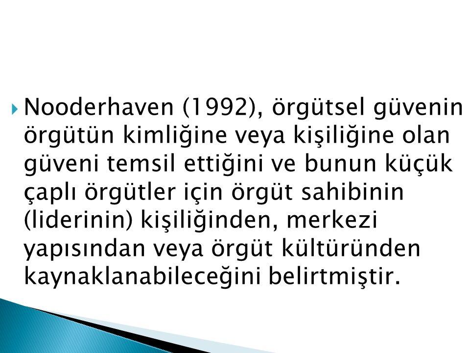  Nooderhaven (1992), örgütsel güvenin örgütün kimliğine veya kişiliğine olan güveni temsil ettiğini ve bunun küçük çaplı örgütler için örgüt sahibini