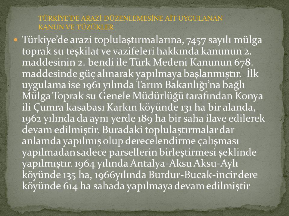  Türkiye'de arazi toplulaştırmalarına, 7457 sayılı mülga toprak su teşkilat ve vazifeleri hakkında kanunun 2. maddesinin 2. bendi ile Türk Medeni Kan