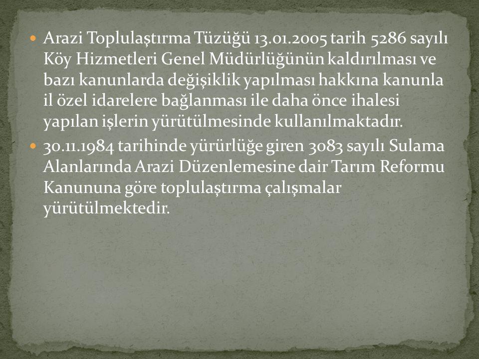  Arazi Toplulaştırma Tüzüğü 13.01.2005 tarih 5286 sayılı Köy Hizmetleri Genel Müdürlüğünün kaldırılması ve bazı kanunlarda değişiklik yapılması hakkı