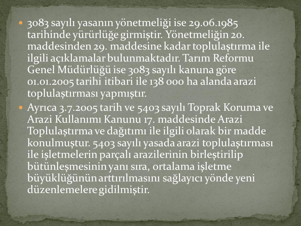  3083 sayılı yasanın yönetmeliği ise 29.06.1985 tarihinde yürürlüğe girmiştir. Yönetmeliğin 20. maddesinden 29. maddesine kadar toplulaştırma ile ilg