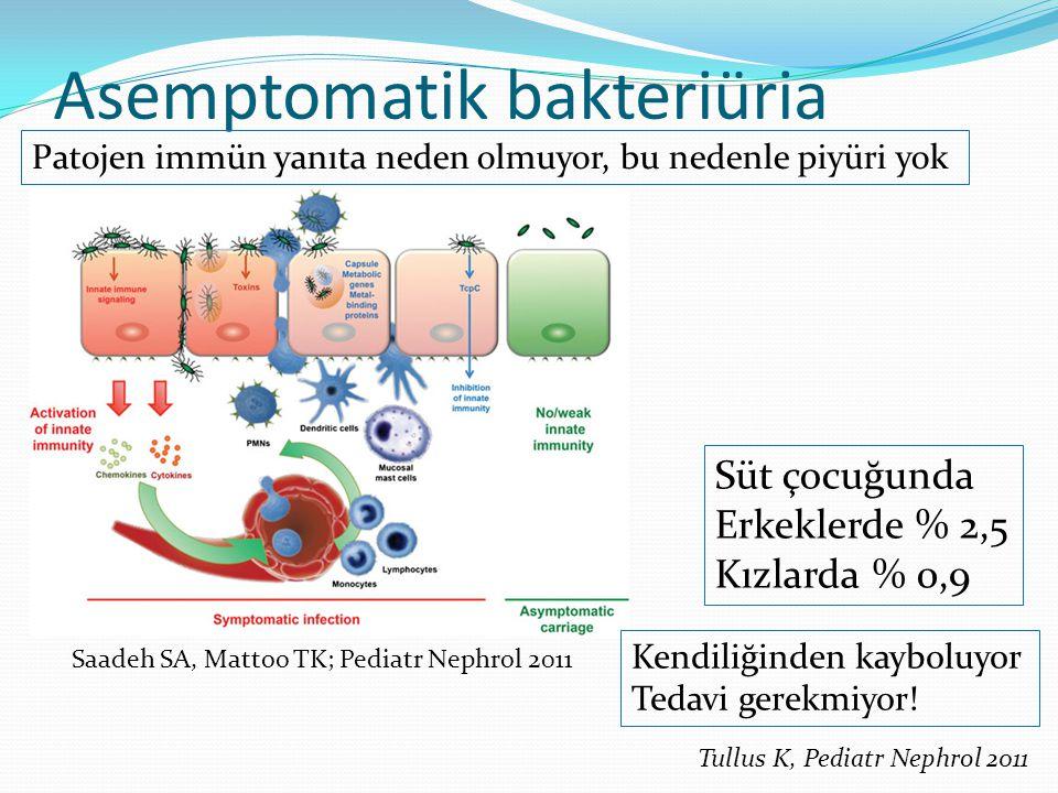 Asemptomatik bakteriüria Patojen immün yanıta neden olmuyor, bu nedenle piyüri yok Kendiliğinden kayboluyor Tedavi gerekmiyor! Süt çocuğunda Erkeklerd