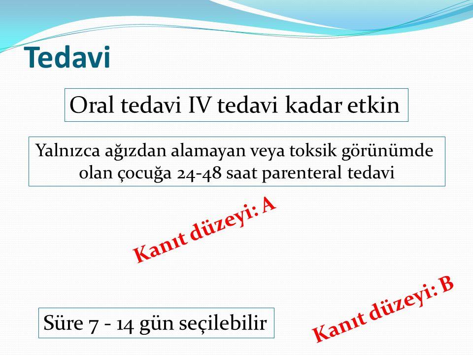 Tedavi Oral tedavi IV tedavi kadar etkin Yalnızca ağızdan alamayan veya toksik görünümde olan çocuğa 24-48 saat parenteral tedavi Kanıt düzeyi: A Süre