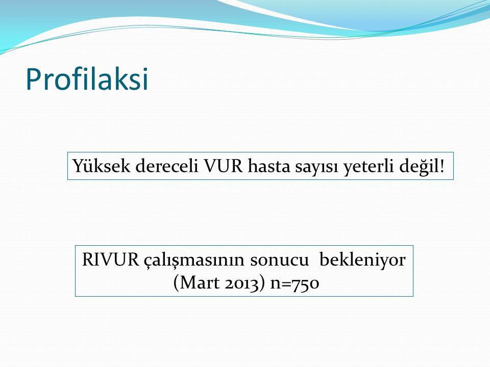Profilaksi RIVUR çalışmasının sonucu bekleniyor (Mart 2013) n=750 Yüksek dereceli VUR hasta sayısı yeterli değil!