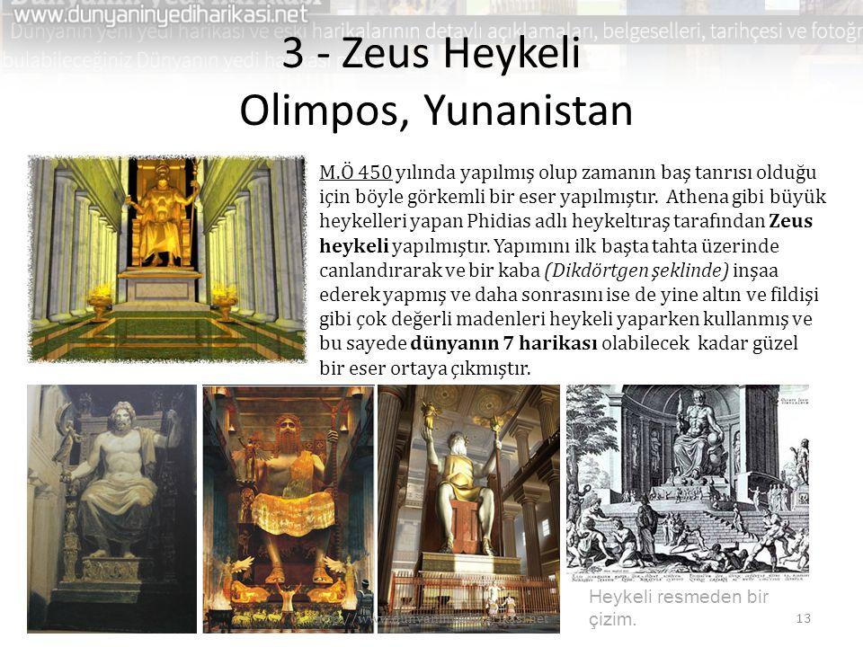 3 - Zeus Heykeli Olimpos, Yunanistan M.Ö 450 yılında yapılmış olup zamanın baş tanrısı olduğu için böyle görkemli bir eser yapılmıştır. Athena gibi bü