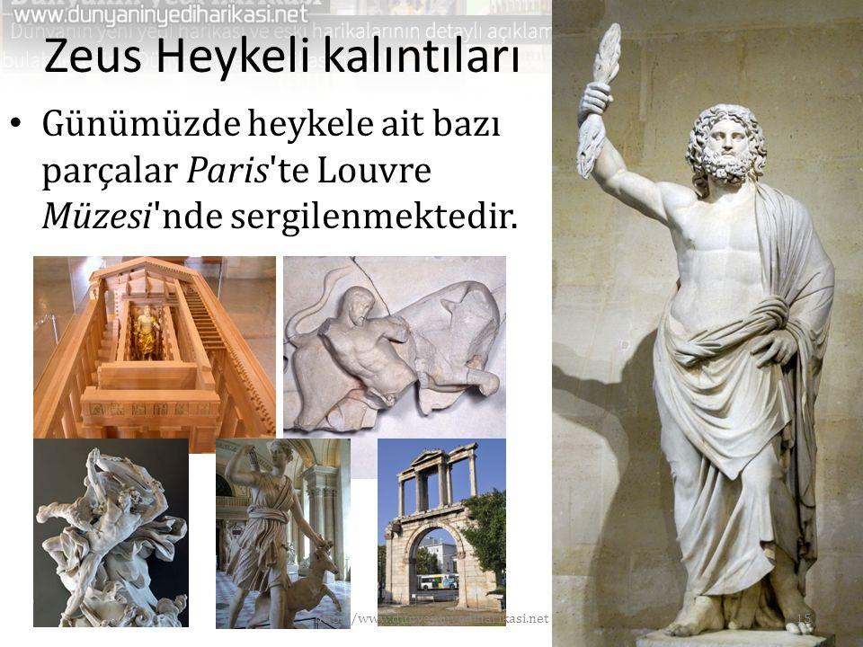 Zeus Heykeli kalıntıları • Günümüzde heykele ait bazı parçalar Paris'te Louvre Müzesi'nde sergilenmektedir. 15http://www.dunyaninyediharikasi.net