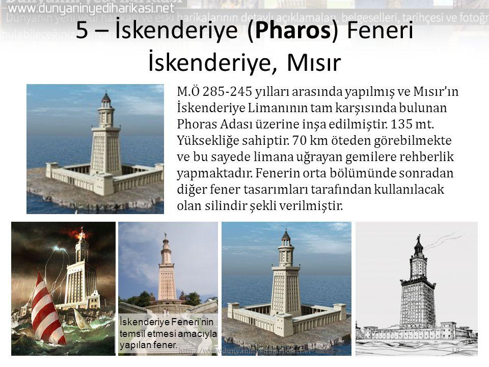 5 – İskenderiye (Pharos) Feneri İskenderiye, Mısır M.Ö 285-245 yılları arasında yapılmış ve Mısır'ın İskenderiye Limanının tam karşısında bulunan Phoras Adası üzerine inşa edilmiştir.