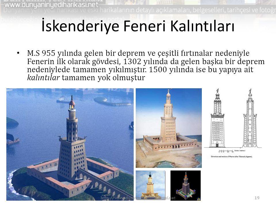 İskenderiye Feneri Kalıntıları • M.S 955 yılında gelen bir deprem ve çeşitli fırtınalar nedeniyle Fenerin ilk olarak gövdesi, 1302 yılında da gelen başka bir deprem nedeniylede tamamen yıkılmıştır.