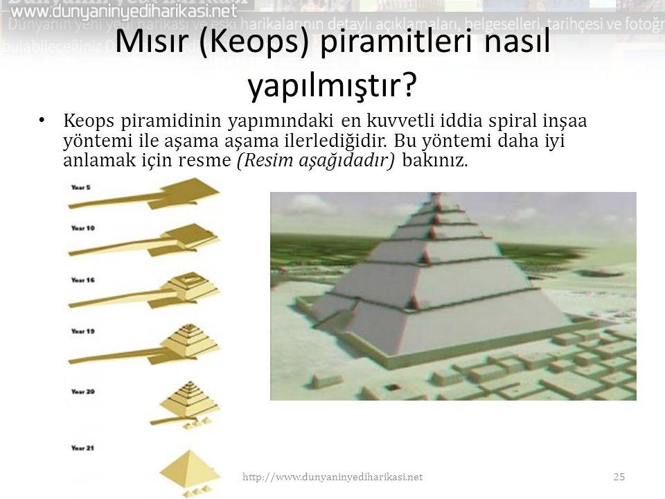 Mısır (Keops) piramitleri nasıl yapılmıştır? • Keops piramidinin yapımındaki en kuvvetli iddia spiral inşaa yöntemi ile aşama aşama ilerlediğidir. Bu