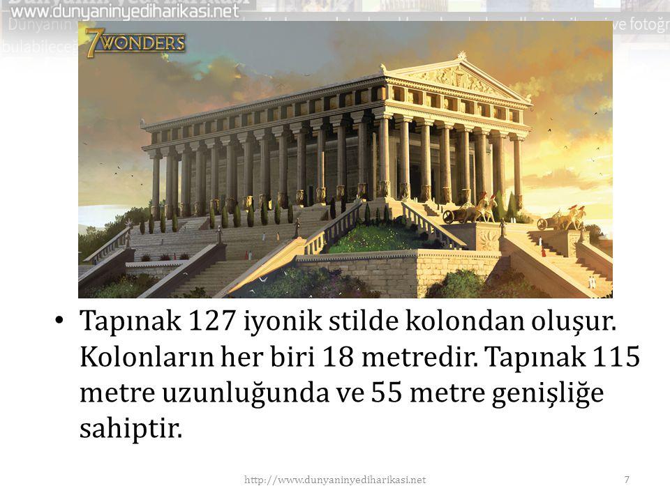 • Tapınak 127 iyonik stilde kolondan oluşur. Kolonların her biri 18 metredir. Tapınak 115 metre uzunluğunda ve 55 metre genişliğe sahiptir. 7http://ww