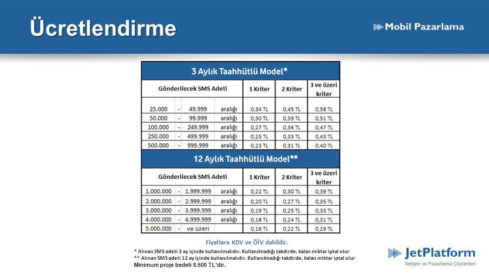 Fiyatlara KDV ve ÖİV dahildir. * Alınan SMS adeti 3 ay içinde kullanılmalıdır. Kullanılmadığı takdirde, kalan miktar iptal olur ** Alınan SMS adeti 12