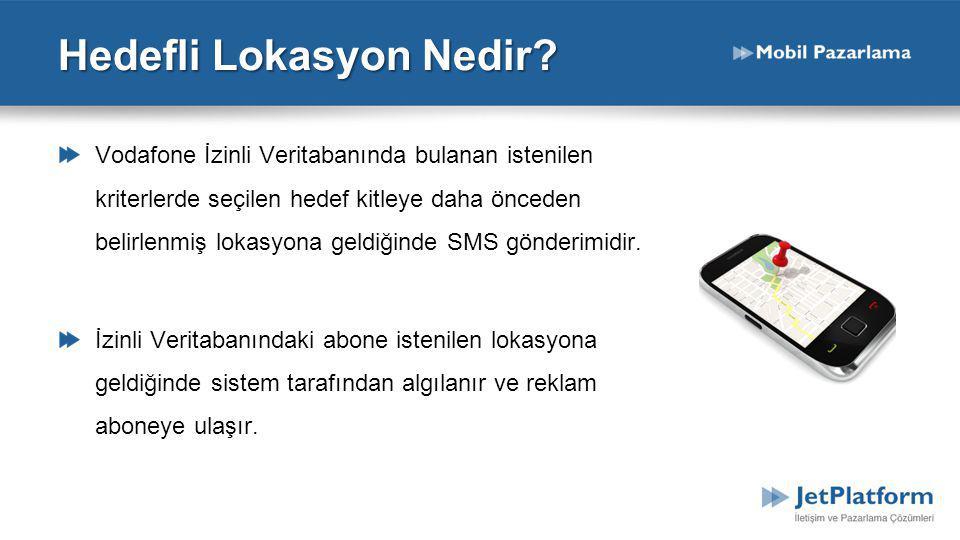 Hedefli Lokasyon Nedir? Vodafone İzinli Veritabanında bulanan istenilen kriterlerde seçilen hedef kitleye daha önceden belirlenmiş lokasyona geldiğind