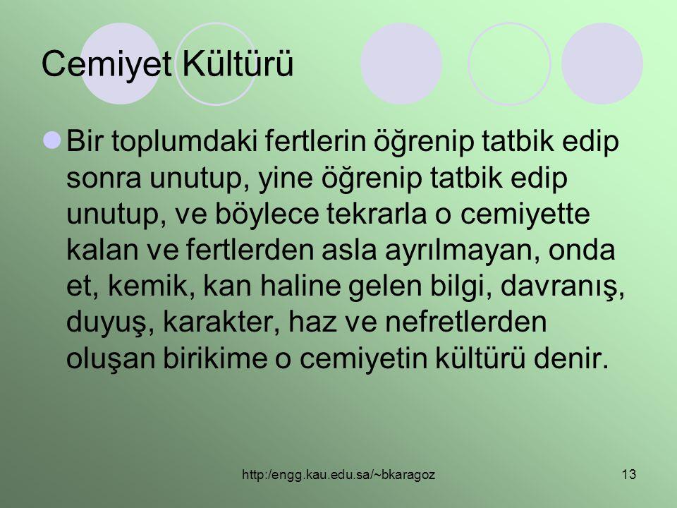 http:/engg.kau.edu.sa/~bkaragoz13 Cemiyet Kültürü  Bir toplumdaki fertlerin öğrenip tatbik edip sonra unutup, yine öğrenip tatbik edip unutup, ve böy