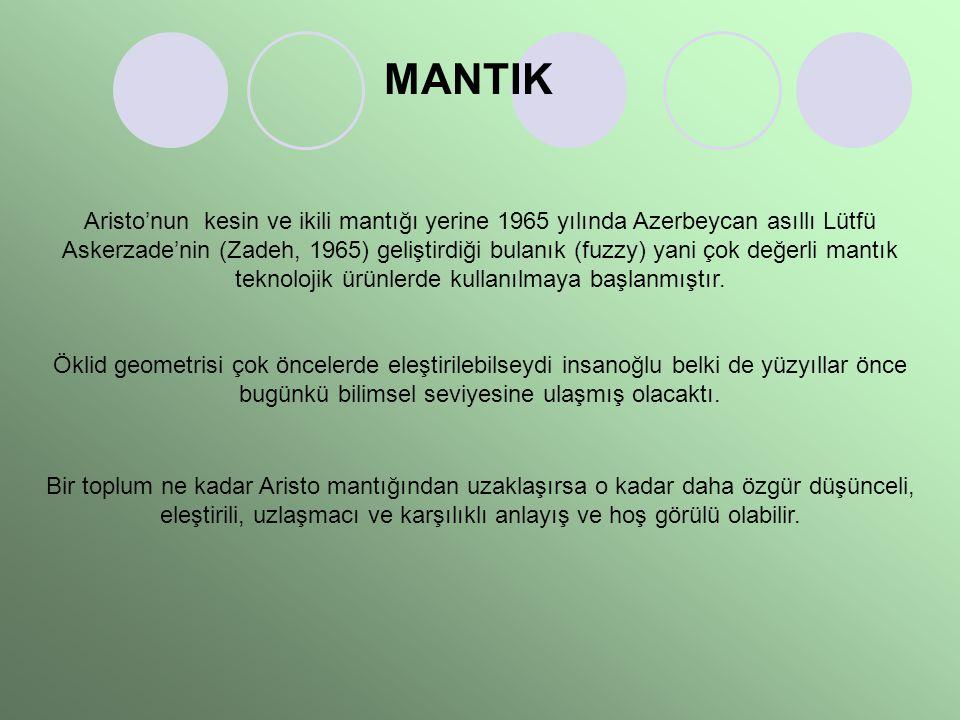 MANTIK Aristo'nun kesin ve ikili mantığı yerine 1965 yılında Azerbeycan asıllı Lütfü Askerzade'nin (Zadeh, 1965) geliştirdiği bulanık (fuzzy) yani çok değerli mantık teknolojik ürünlerde kullanılmaya başlanmıştır.