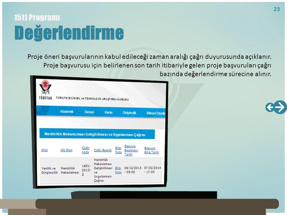 Proje öneri başvurularının kabul edileceği zaman aralığı çağrı duyurusunda açıklanır. Proje başvurusu için belirlenen son tarih itibariyle gelen proje