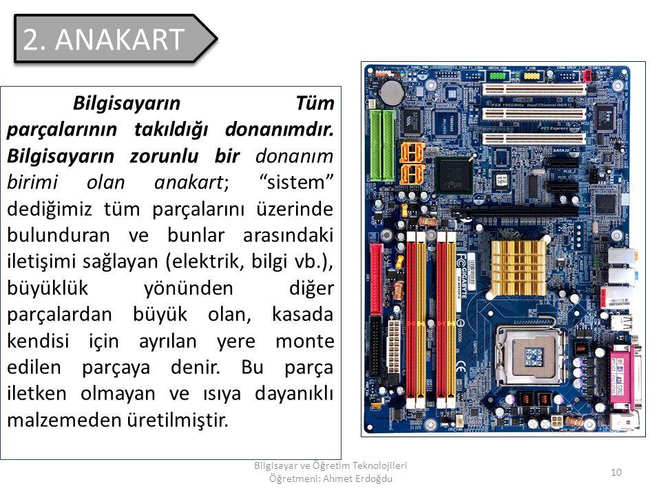"""Bilgisayar ve Öğretim Teknolojileri Öğretmeni: Ahmet Erdoğdu 9 1. KASA Üzerinde """"Power"""" denilen elektronik güç kaynağının üzerinde bulunduğu, """"Anakart"""