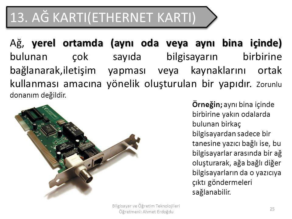 Bilgisayar ve Öğretim Teknolojileri Öğretmeni: Ahmet Erdoğdu 24 12. SES KARTI Bilgisayardaki sesleri dışa vuran ve zorunlu olmayan bir donanımdır. Zor
