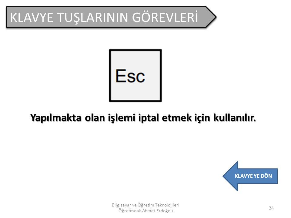 Bilgisayar ve Öğretim Teknolojileri Öğretmeni: Ahmet Erdoğdu 33 21. KLAVYE Bilgisayara bilgi girişi sağlayan en ö nemli aygıtlardan birisidir. 2 ÇEŞİT