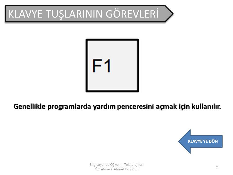KLAVYE TUŞLARININ GÖREVLERİ 34 Bilgisayar ve Öğretim Teknolojileri Öğretmeni: Ahmet Erdoğdu KLAVYE YE DÖN Yapılmakta olan işlemi iptal etmek için kull