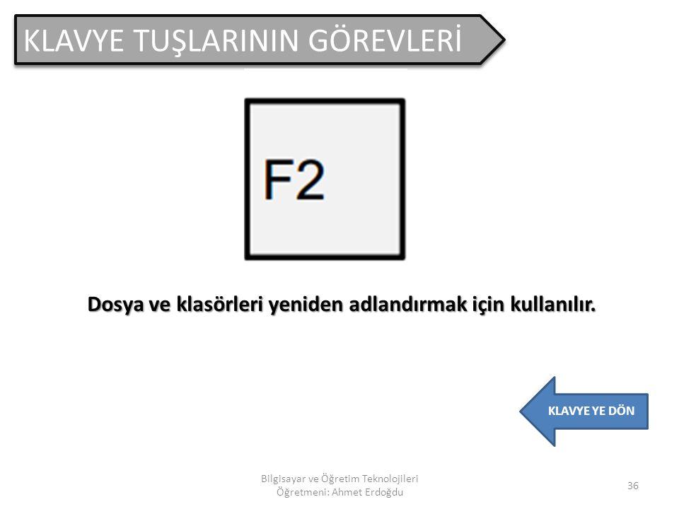 KLAVYE TUŞLARININ GÖREVLERİ 35 Bilgisayar ve Öğretim Teknolojileri Öğretmeni: Ahmet Erdoğdu KLAVYE YE DÖN Genellikle programlarda yardım penceresini a