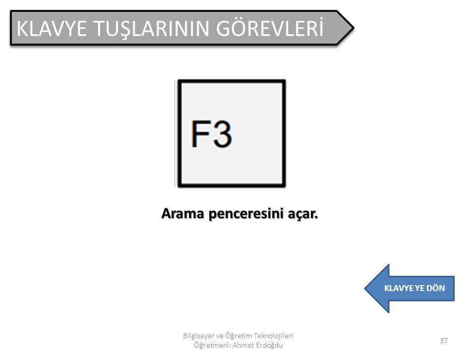 KLAVYE TUŞLARININ GÖREVLERİ 36 Bilgisayar ve Öğretim Teknolojileri Öğretmeni: Ahmet Erdoğdu KLAVYE YE DÖN Dosya ve klasörleri yeniden adlandırmak için