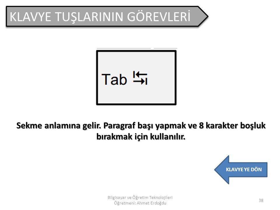 KLAVYE TUŞLARININ GÖREVLERİ 37 Bilgisayar ve Öğretim Teknolojileri Öğretmeni: Ahmet Erdoğdu KLAVYE YE DÖN Arama penceresini açar.