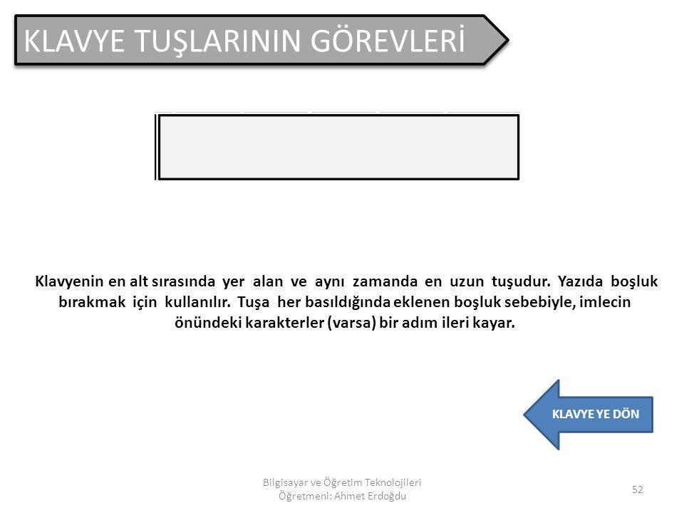 KLAVYE TUŞLARININ GÖREVLERİ 51 Bilgisayar ve Öğretim Teknolojileri Öğretmeni: Ahmet Erdoğdu KLAVYE YE DÖN Bazı programlarda, programın çalışmasını geç