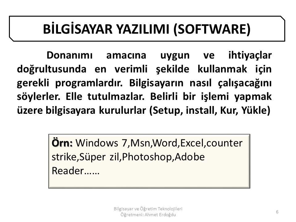KLAVYE TUŞLARININ GÖREVLERİ 46 Bilgisayar ve Öğretim Teknolojileri Öğretmeni: Ahmet Erdoğdu KLAVYE YE DÖN İmleci satır sonuna götürür.