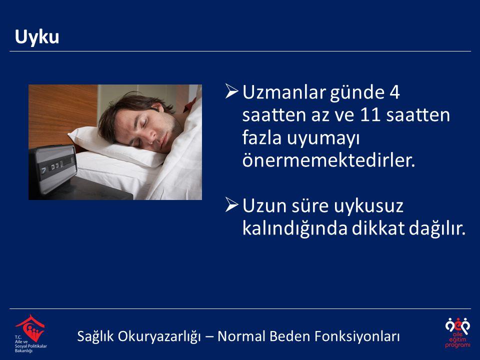 Uyku Sağlık Okuryazarlığı – Normal Beden Fonksiyonları  Uzmanlar günde 4 saatten az ve 11 saatten fazla uyumayı önermemektedirler.  Uzun süre uykusu