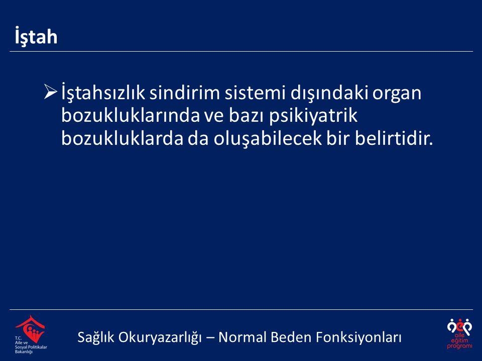 İştah Sağlık Okuryazarlığı – Normal Beden Fonksiyonları  İştahsızlık sindirim sistemi dışındaki organ bozukluklarında ve bazı psikiyatrik bozukluklar