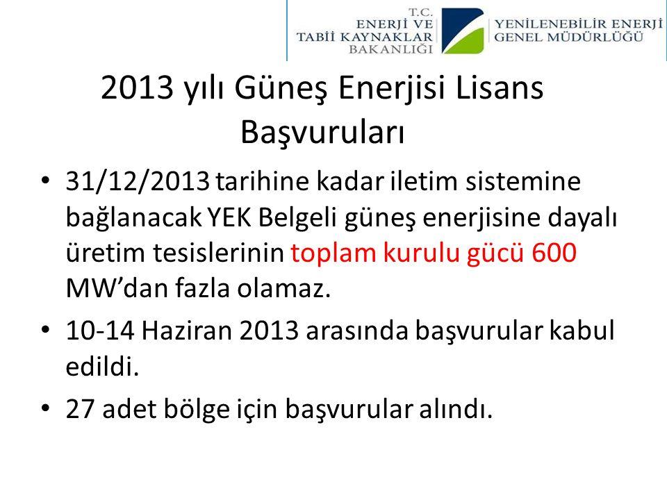 2013 yılı Güneş Enerjisi Lisans Başvuruları • 31/12/2013 tarihine kadar iletim sistemine bağlanacak YEK Belgeli güneş enerjisine dayalı üretim tesisle