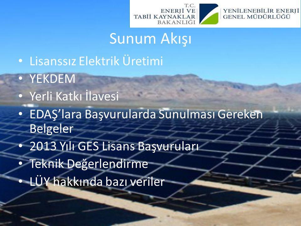 Lisanssız Elektrik Üretimi 6446 sayılı Kanun MADDE 14 – (1) Lisans alma ve şirket kurma yükümlülüğünden muaf faaliyetler şunlardır: a) İmdat grupları ve iletim ya da dağıtım sistemiyle bağlantı tesis etmeyen üretim tesisi b) Kurulu gücü azami bir megavatlık yenilenebilir enerji kaynaklarına dayalı üretim tesisi c) Belediyelerin katı atık tesisleri ile arıtma tesisi çamurlarının bertarafında kullanılmak üzere kurulan elektrik üretim tesisi ç) Mikrokojenerasyon tesisleri ile Bakanlıkça belirlenecek verimlilik değerini sağlayan kojenerasyon tesislerinden Kurulca belirlenecek olan kategoride olanları d) Ürettiği enerjinin tamamını iletim veya dağıtım sistemine vermeden kullanan, üretimi ve tüketimi aynı ölçüm noktasında olan, yenilenebilir enerji kaynaklarına dayalı üretim tesisi