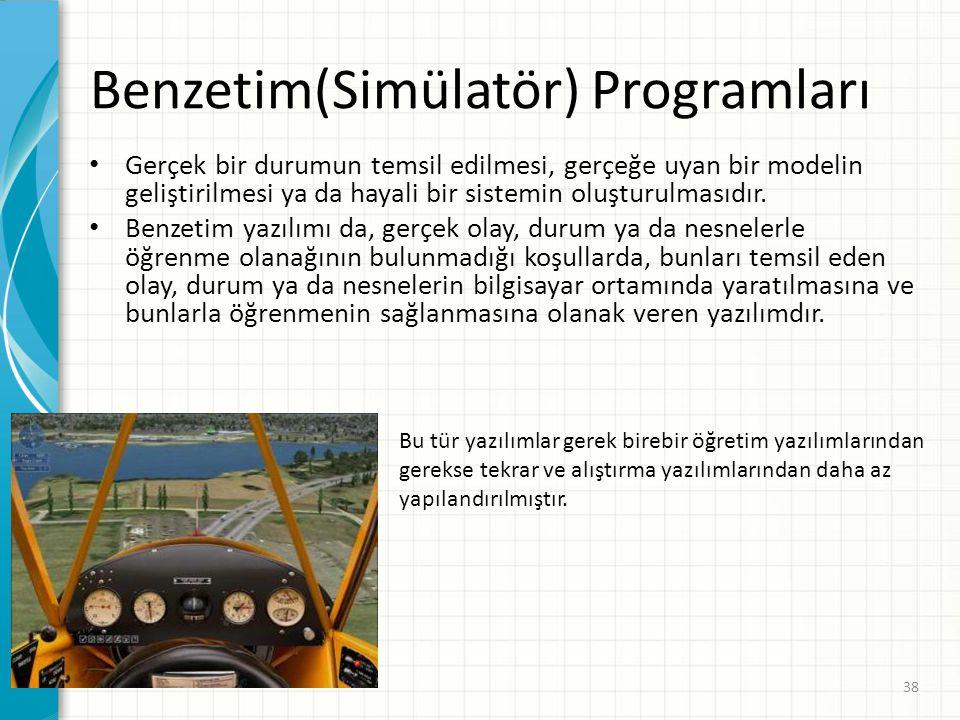 Oyunlar • Öğretim amaçlı oyun yazılımları, öğrenme etkinliklerine oyun kuralları eklenerek hazırlanan yazılımlardır. • Öğrencileri güdülemeyi amaçlaya