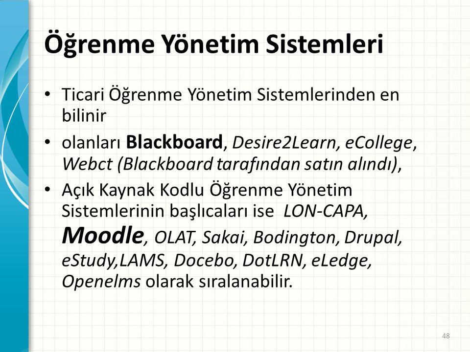 Öğrenme Yönetim Sistemleri • Öğrenme yönetim sistemleri, öğrenme aktivitelerinin yönetimini sağlayan yazılımlardır. • Öğrenme materyali sunma, • sunul