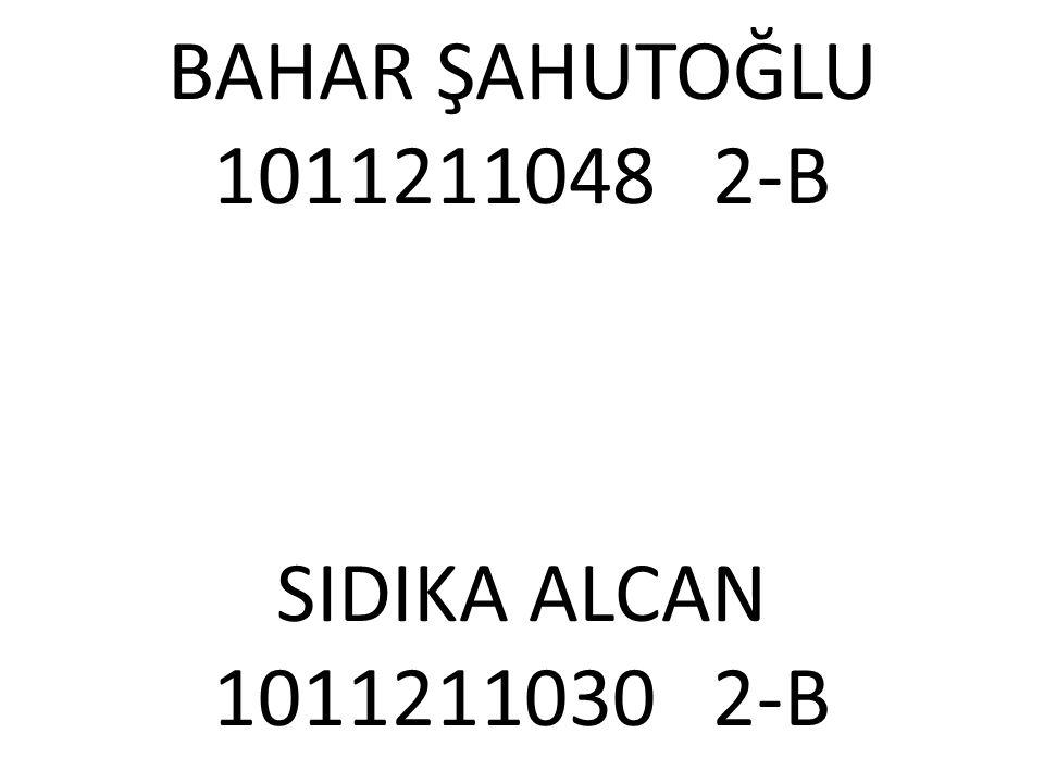 BAHAR ŞAHUTOĞLU 1011211048 2-B SIDIKA ALCAN 1011211030 2-B