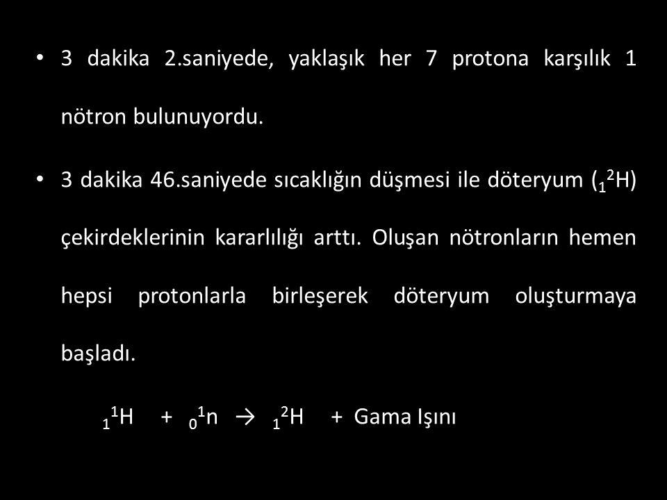 • 3 dakika 2.saniyede, yaklaşık her 7 protona karşılık 1 nötron bulunuyordu. • 3 dakika 46.saniyede sıcaklığın düşmesi ile döteryum ( 1 2 H) çekirdekl