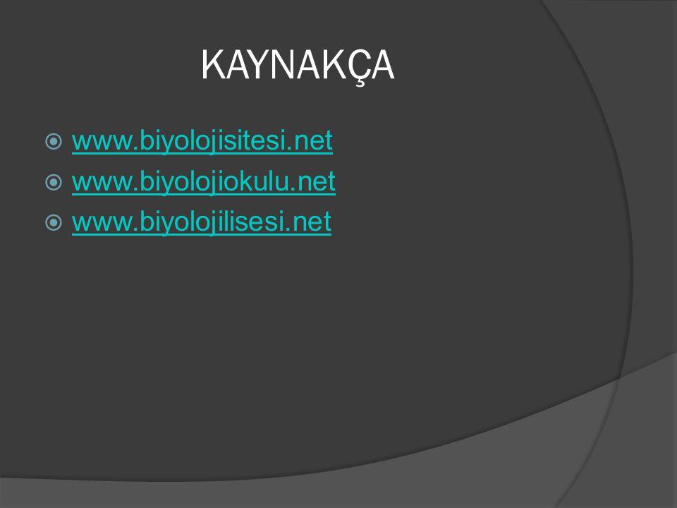 KAYNAKÇA  www.biyolojisitesi.net www.biyolojisitesi.net  www.biyolojiokulu.net www.biyolojiokulu.net  www.biyolojilisesi.net www.biyolojilisesi.net