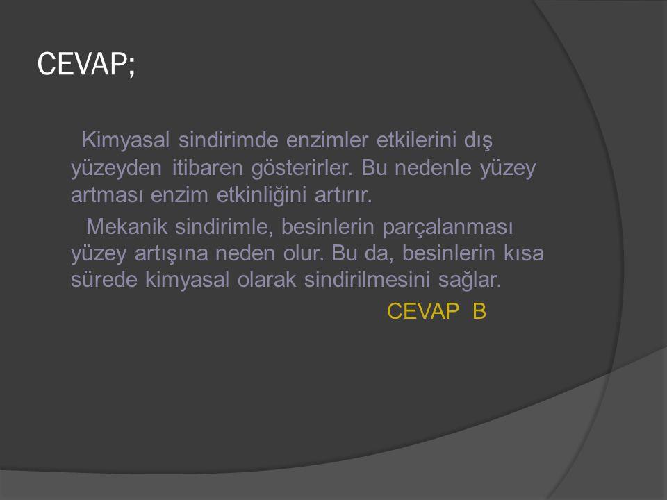 CEVAP; Kimyasal sindirimde enzimler etkilerini dış yüzeyden itibaren gösterirler. Bu nedenle yüzey artması enzim etkinliğini artırır. Mekanik sindirim